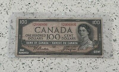 1954 $100 One Hundred Dollar Bank Of Canada Note, AJ prefix
