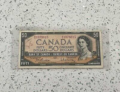 1954 $50 Fifty Dollar Bank Of Canada Note, BH Prefix