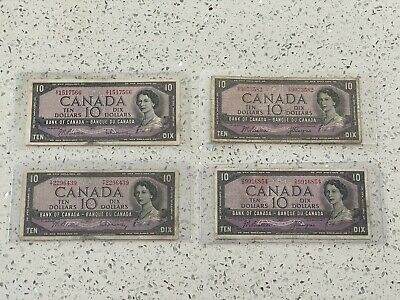 1954 $10 Dollar Bank Of Canada Notes x4 (4 notes)