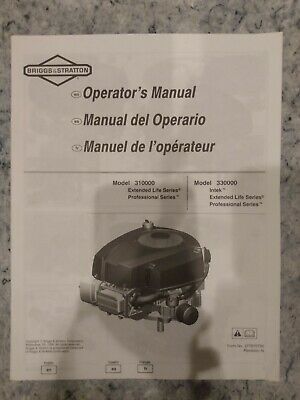 Briggs and stratton model 310000 330000 Intek Engine Operators Owners Manual