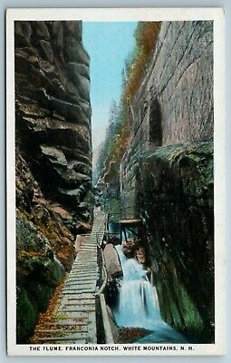 Vintage Early Linen Postcard The Flume Franconia Notch White Mountains New Hampshire 1930s