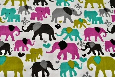 """ELEPHANTS pure 100/% cotton fabric RED grey FQ or by the meter 140cm 55/"""" wide"""