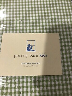 """Pottery Barn Kids Green Gingham Check Cotton Unlined Drapery Panel 44/""""x 84"""""""