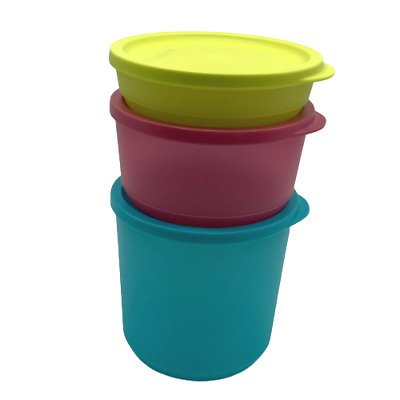 Tupperware Bowls Basic Bright Set of 4 Modular .75 Cup Canisters Chartreuse ❤️