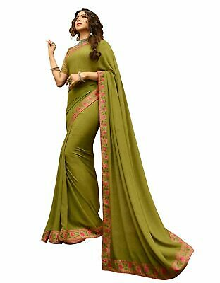 Details about  /Yellow Saree Sequence saree Georgette Bember with Blouse Party wear Fancy Saree