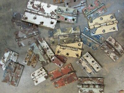 Antique Old Mexican Door Hinges-Lot (20)- Hardware-Assorted-Old Paint-Primitive