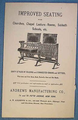 1890 Illustrated Church Seating Advertisement