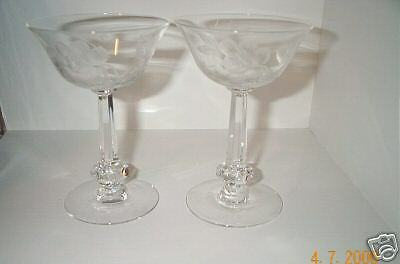 2 Heisey Dolly Madison Rose Champagne Tall Sherbets