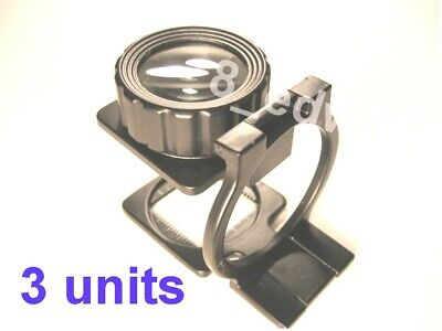 3 Units Large Lens 10xMag Professional Heavy Steel Fold Loupe / Linens Tester