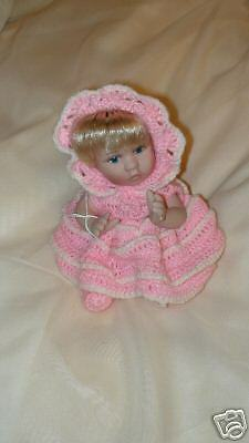 """Porcelain Baby Doll NEW seated crocheted outfit 6"""""""