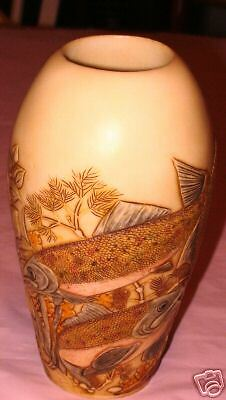 NIB Down River Fish Vase Jardinia Harmony Kingdom Marble New