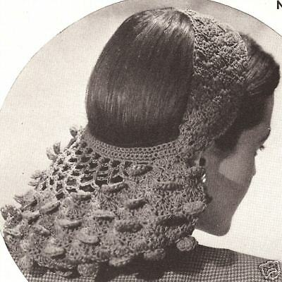 Vintage Crochet Petal Snood Headband Hairband pattern