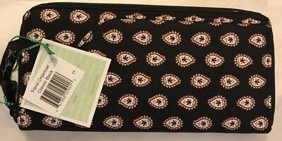 Vera Bradley Retired Classic Black Travel Organizer Passport Wallet