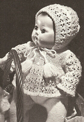 "Knitted 16"" Baby Doll Clothes Bonnet Cap Coat Pattern"