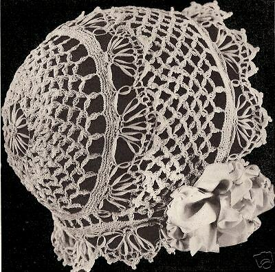 Vintage Antique Crochet PATTERN to make Baby Cap Hat Bonnet CoronationBB