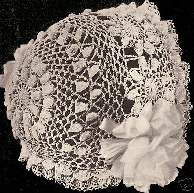 Vintage Antique Crochet PATTERN to make Daisy Sun Flower Baby Cap Hat Bonnet
