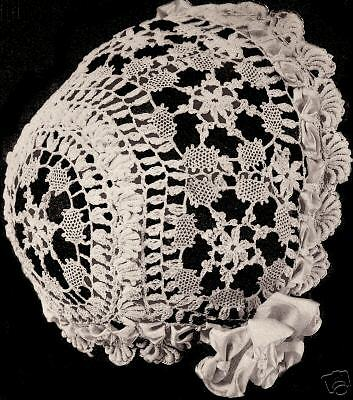 Vintage Antique Crochet PATTERN to make Cluny Lace Baby Cap Hat Bonnet 6-24 mos.