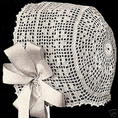 Vintage Antique Crochet PATTERN to make Filet Baby Hat Bonnet Cap ColumbiaFilet