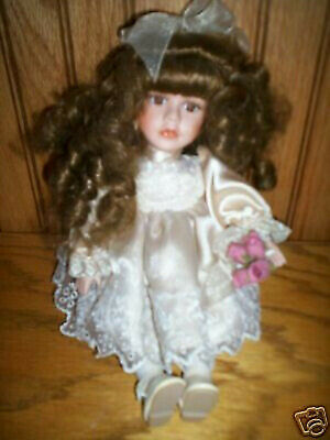 """10"""" Sitting Porcelain Doll With Roses"""