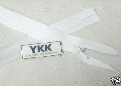 "(100) 23"" Invisible Zippers ~Closed Bottom~ White ~ YKK"