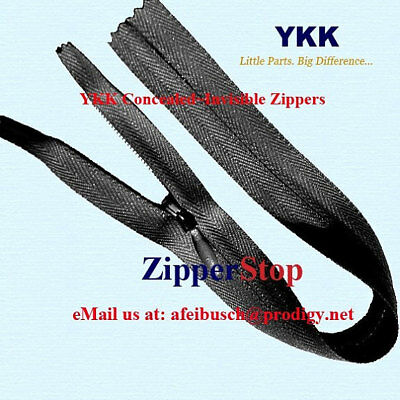 """(100) 24"""" Invisible Zippers ~Closed Bottom~ Black ~ YKK"""