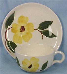 Pretty YELLOW FLOWER RIO CUP & SAUCER Stetson