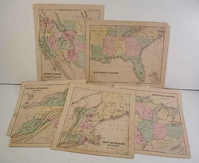 Five Hand Colored Maps, Us States, Engravings