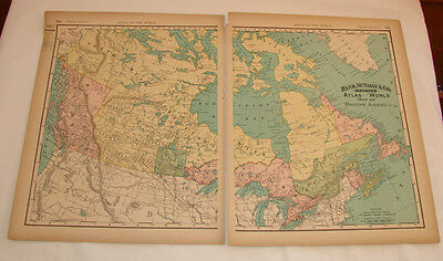 Antique 14 X 21 Color Map 1895 British America Canada