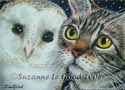 Cat owl art print owl and pussycat from original painting by Suzanne Le Good