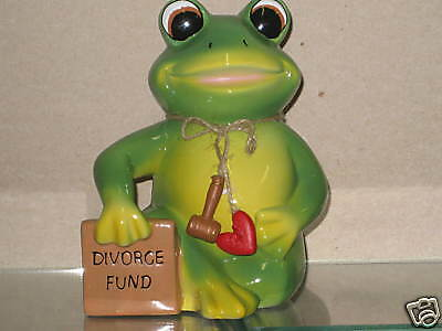 New Sitting Green FROG Ceramic DIVORCE FUND Bank Frogs