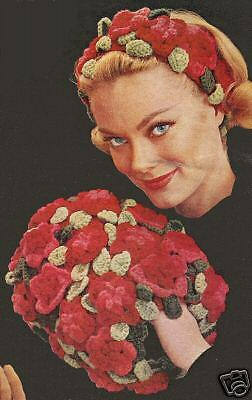 Vintage Crochet PATTERN to make Flower Leaf Hair Band Muff Hat Floral
