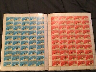 Mint sheet of 50 stamps, United Nations #199-200
