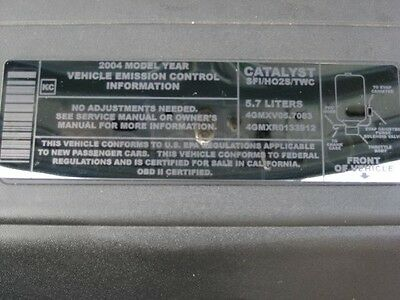 2004 GTO Set of Three (3) Laser Etched Engine Labels
