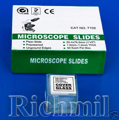 "50 New Microscope Slides 1x3"" + 100 Coverslips 20x20mm"
