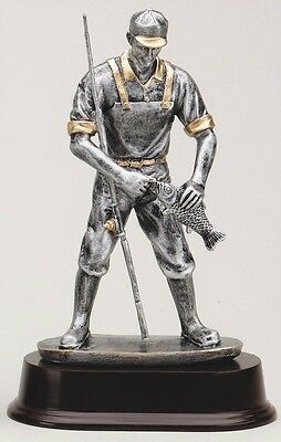 Pewter Color Resin Fisherman Fishing Award Trophy Gift Free Lettering
