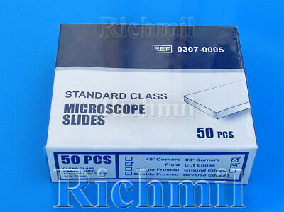 250 New Microscope Slides Plain Clear Edges, 5 Boxes