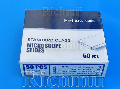50 New Glass Microscope Slides Plain Clear/Cut Edges *UK Dispatch*