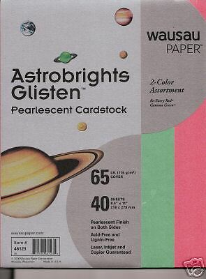 8.5 x 11 Holiday Green & Red Pearlized Card Stock New