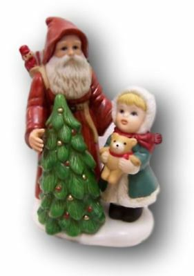 Homco Porcelain Figurine Santa Little Girl Tree # 5303
