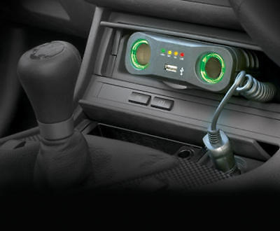 12v Car Cig Lighter Multisocket 12 Volt Twin Double With USB Ring RMS7