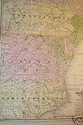 Antique Map Middle United States & Southern, Mitchell, 1839