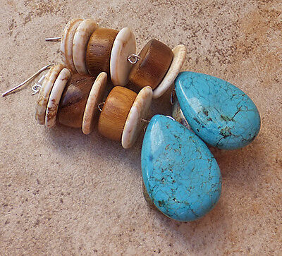 TURQUOISE GEMSTONE VIVID BLUE white GEM WOOD EARRINGS BIG JEWELRY EARTH SILVER