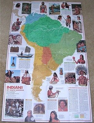 National Geographic MAP March 1982 INDIANS So. America
