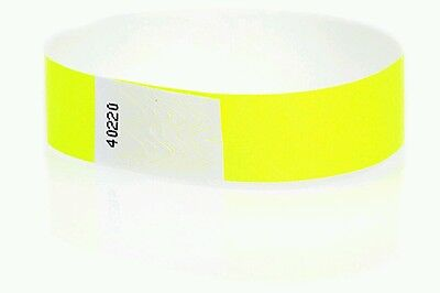 "200  3/4"" Neon Yellow Tyvek Wristbands, Neon Yellow Paper Wristbands, Arm Bands"