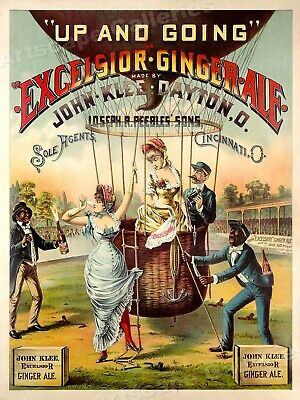 Hot Air Balloon - Excelsior Ginger Ale - 1880s Vintage Advertising Poster  20x28