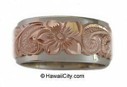 Hawaiian Jewelry Double Band 14k White & Rose Gold Ring