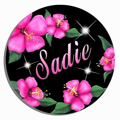 """Pink Hibiscus Mouse Pad Round 7-1/2"""" Personalize Gifts Any Name Or Text Flowers"""