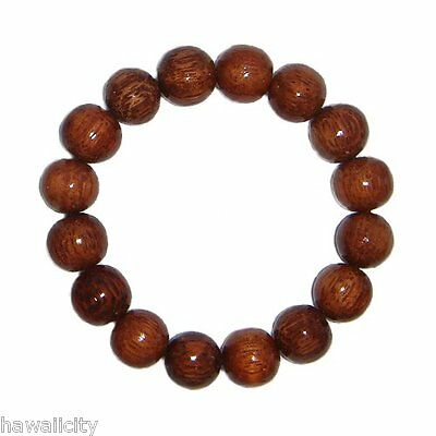 Hawaiian Dark Koa Wood 12mm Elastic Bead Bracelet