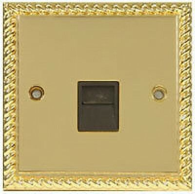BULK:  GEORGIAN BRASS TELEPHONE PHONE SOCKET (box of 10)