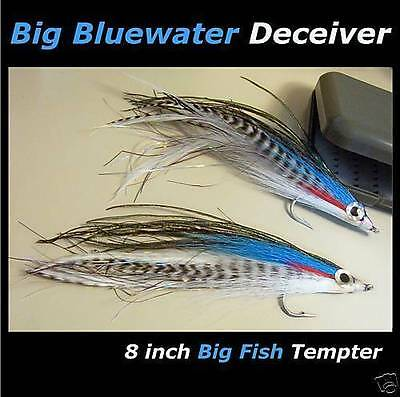 "2 - BIG 8"" BLUEWATER FLIES for fishing rod reel & lines"